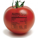 Image of tomato with nutrition label
